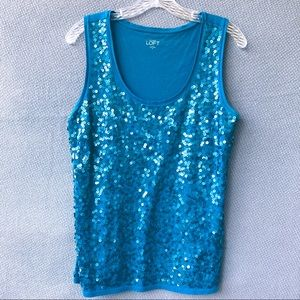 Ann Taylor LOFT Teal Sleeveless Sequin Tank Medium